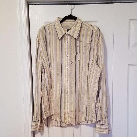 Casual Button-down Shirts Armani Exchange Mens Shirt Button Down Long Sleeve Size Xl Gray